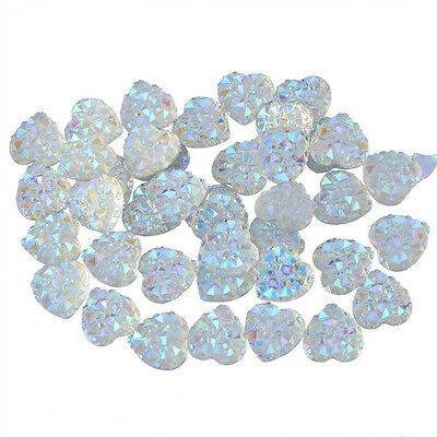 Lots 100x Charms Silver Heart Shape Faced Flat Back Resin Beads DIY 10mm Crafts