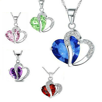 Women Heart Crystal Rhinestone 925 Silver Chain Pendant Necklace Charm Fashion J