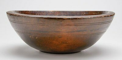 Antique Large Turned & Stained Wooden Bowl 19Th C.