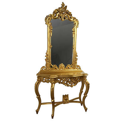 Rococo Gold Console Table & Mirror - Dressing Table - In Stock