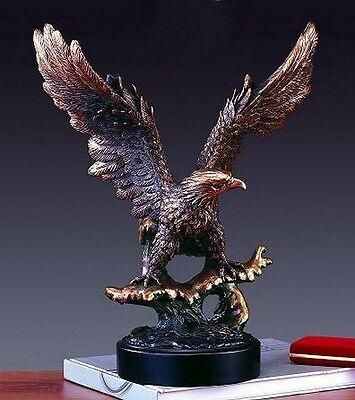 Large Open Wing EAGLE 13.5 x 15.5  Stunning  Beautiful Bronze Statue / Sculpture