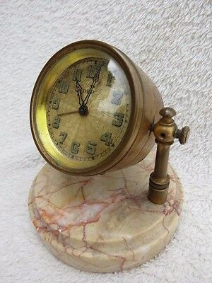 Antique French Dep Marble And Brass Boudoir Alarm Clock For Spares Or Repair