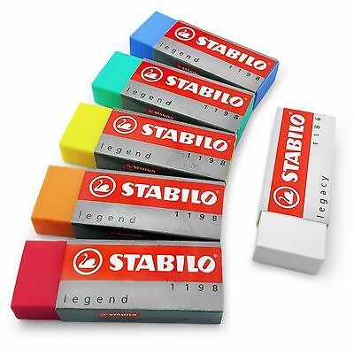 STABILO Legacy Legend Coloured Plastic Rubber Erasers - Pack of 6 assorted