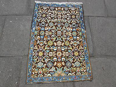 Old Traditional Persian Rug Wool Blue Oriental Rug Hand Made Small Rug 110x75cm