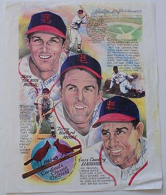 Stan Musial Enos Slaughter Terry Moore Signed 8x10 Cardinals Outfield Photo SI