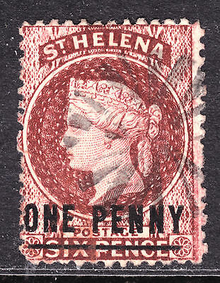ST. HELENA #12 1p on 6p BROWN RED, 1871 SURCHARGE OVERPRINT, Wmk.1, VG, CORK