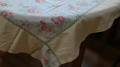 VINTAGE FEEDSACK Feed Sack Tablecloth Red & Blue Flowers