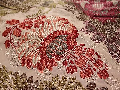 "Antique 19th French Silk Taffeta Brocade HAMOT Lyon Fabric 57""x 51"""