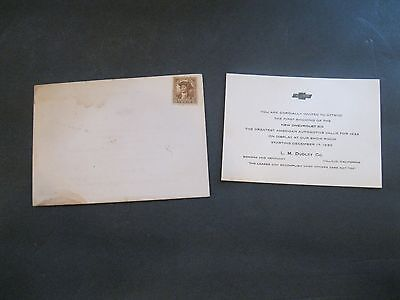 Vintage Chevrolet 1933 Invitartion for the First Showing of-New Chevrolet Six