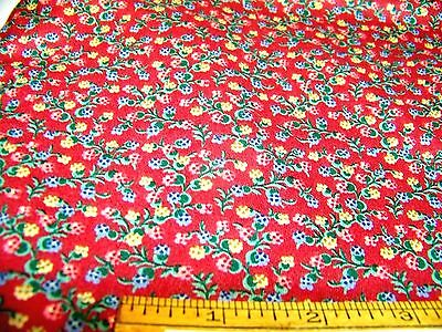 """Vintage Waverly Cotton Fabric Tiny Floral Burgundy Green Pink Yellow 41""""x 50""""+"""