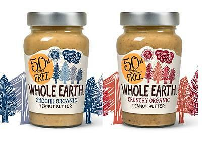 Whole Earth Organic Peanut Butter 227g + 50% Free (340g) * Crunchy Or Smooth *