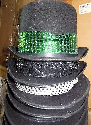 Lot of 6 Theatrical black felt top hats Size Medium Jacobson Dance Black trim