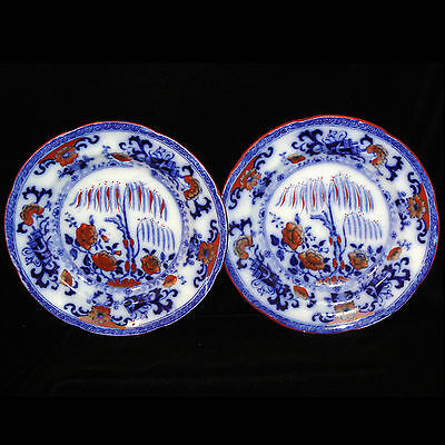 Davenport Childs FLOW BLUE Poly CHINESE Plate Pair Tea Set c1844