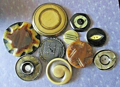 VINTAGE BUTTONS*Collection of 10 Med/Lrg COAT Buttons (CELLULOID, Other Plastic)