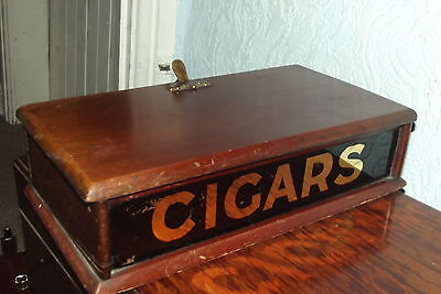 RARE ANTIQUE mahogany CIGAR BOX GLASS FRONT IN GOLD  LETTER HANDLE TO BACK