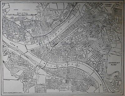 Antique 1917 Atlas Map Pittsburgh, PA Penn Pennsylvania & Plymouth, England WWI