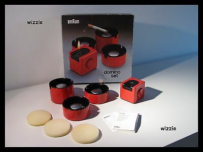 BRAUN : 3x Ashtray & Lighter / Domino Set / Dieter Rams / Vintage / 1970