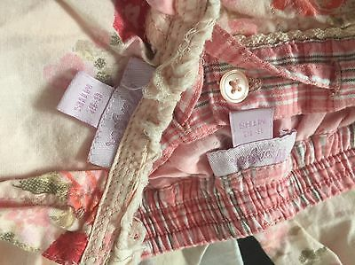 Monsoon baby girl's trousers & top outfit - 6-9 mth pink, peach, red