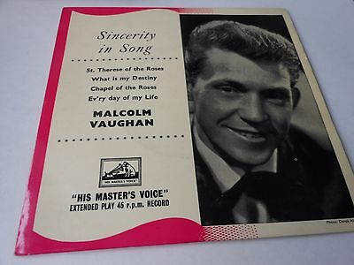 """MALCOLM VAUGHAN  7"""" ep  four tracks SINCERITY IN SONG"""