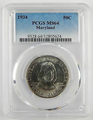 1934 50c Maryland Commemorative Silver Half Dollar PCGS MS64 Unc Coin A2326