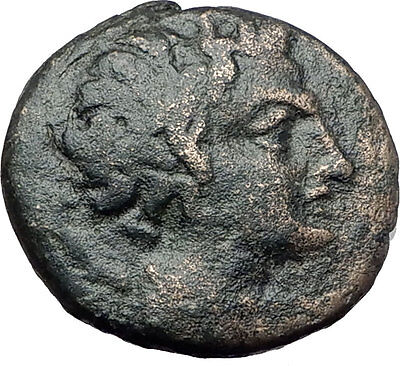 PELLA Macedonia Original 146BC Authentic Ancient Greek Coin PAN & ATHENA i61625