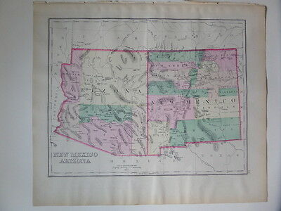 Large 1874 Map of  Arizona and New Mexico