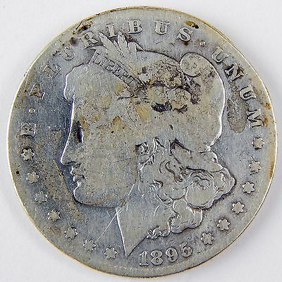 1895-S $1 Morgan Silver Dollar Good Details Cleaned Stained Coin A2333