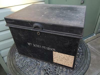 Large Vintage Metal Deed Box Storage Tin Chest #7 Signwritten Agnes Pearson