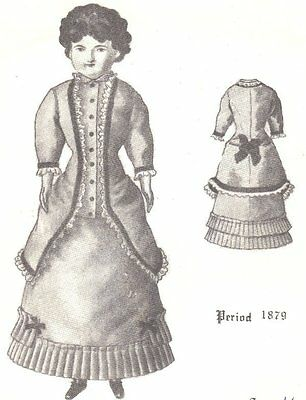 "16"" Period DOLL DRESS PATTERN Victorian  German  French ANTIQUE / vintage look"