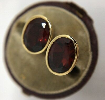 Stunning Vintage  Yellow Gold Large Size Garnet Stud Style Earrings Pretty
