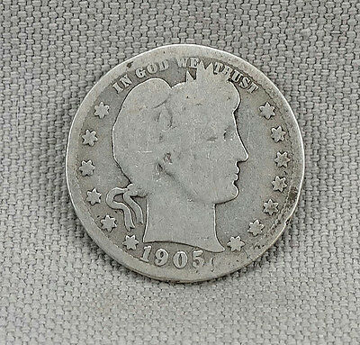 1905-S Barber Quarter! No Reserve! Old Silver Coin!
