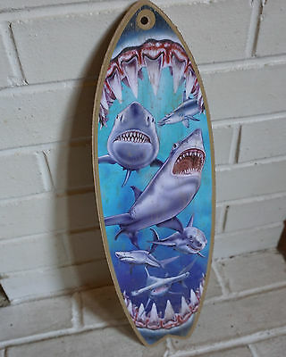 GREAT WHITE SHARK MOUTH BITE SURFBOARD SIGN Beach Surfing Surfer Home Decor NEW