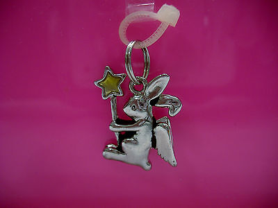 Charming Silver 3-D Angel Bunny Rabbit Charm With Enamel Star- Brand New!