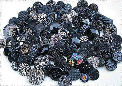 85 Antique & Vintage Black Glass Buttons, Lacy Type, Imit. Fabric, Silver Luster