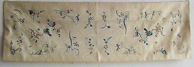Fine Old Chinese Embroidered Silk Birds & Flowers Decorated Runner Panel