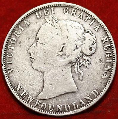 1880 Newfoundland 50 Cents Silver Foreign Coin Free S/H