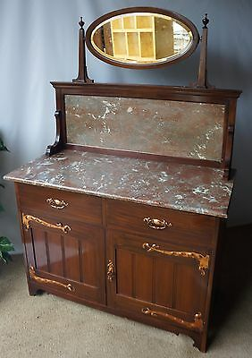 Fine Arts And Crafts Antique Solid Mahogany, Marble & Copper Sideboard Washstand