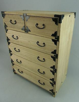 T77 Japanese Chest Wood 6 Drawer Sewing Box Jewelry Furniture Vtg Tansu Haribako