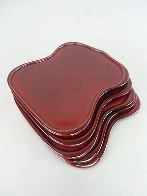 LW615 Japanese Lacquer ware Set Plate 5 pieces Shunkei nuri Vtg