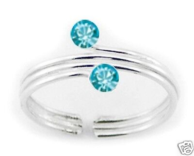 USA Seller Triple Wire Crystals  Toe Ring Sterling Silver 925 Jewelry Aquamarine