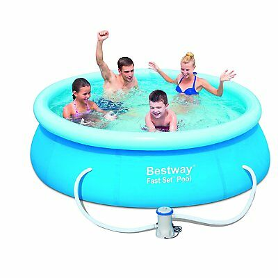 "NEW Bestway Quick-Set Up 10ft x 30"" Fast Set Pool with Pump - Blue"