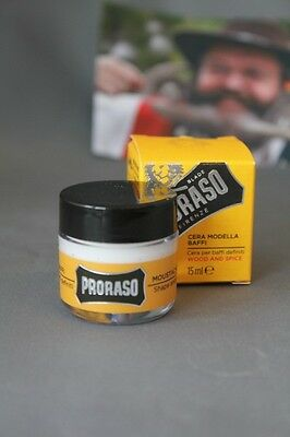 (77,40€/100ml) Proraso Moustache Wax Bartwachs Wood & Spice 15ml