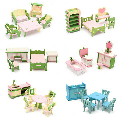 Wooden Furniture Dolls House Family Miniature 6 Set Room Child Kids Gift Toys