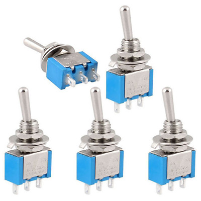 5PCS AC ON/OFF SPDT 2 Position Latching Toggle Switch Metal New