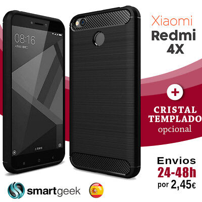"FUNDA TPU Gel para XIAOMI Redmi 4X  5"" slim shock tough fiber carbon rugged case"
