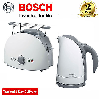 Bosch Private Collection 2-Slice Compact Toaster & 1.7L Jug Kettle Set In White