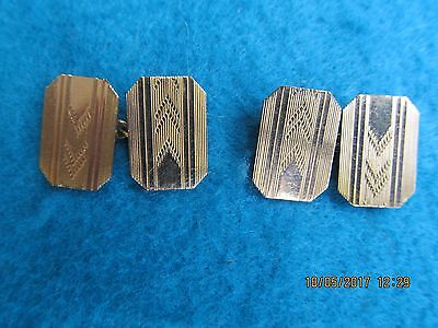 VINTAGE MENS ART DECO STYLE 10ct GOLD FRONTs CUFFLINKS.