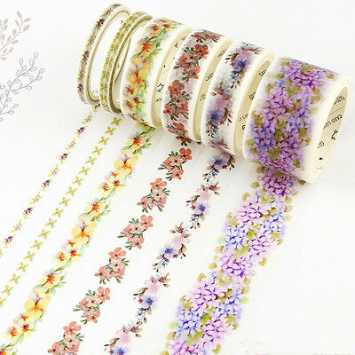 Floral Decorative Roll Washi Tape Sticky Paper Masking Adhesive Crafts Colorful