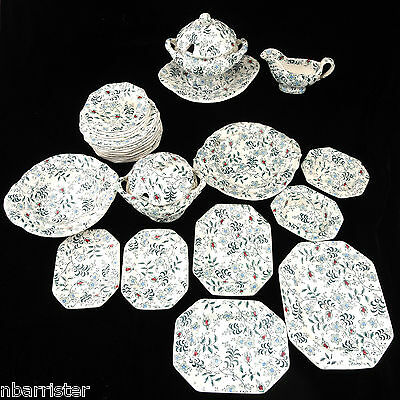 Staffordshire Childs Pearlware Dinner Set Green Red Floral Sheet Print c1835