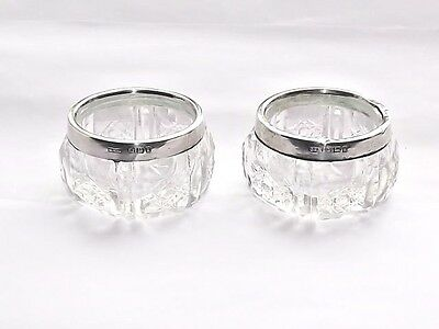 Antique Edwardian Solid Silver Sterling& Glass Pair Of Salt Cellars B/ham 1906